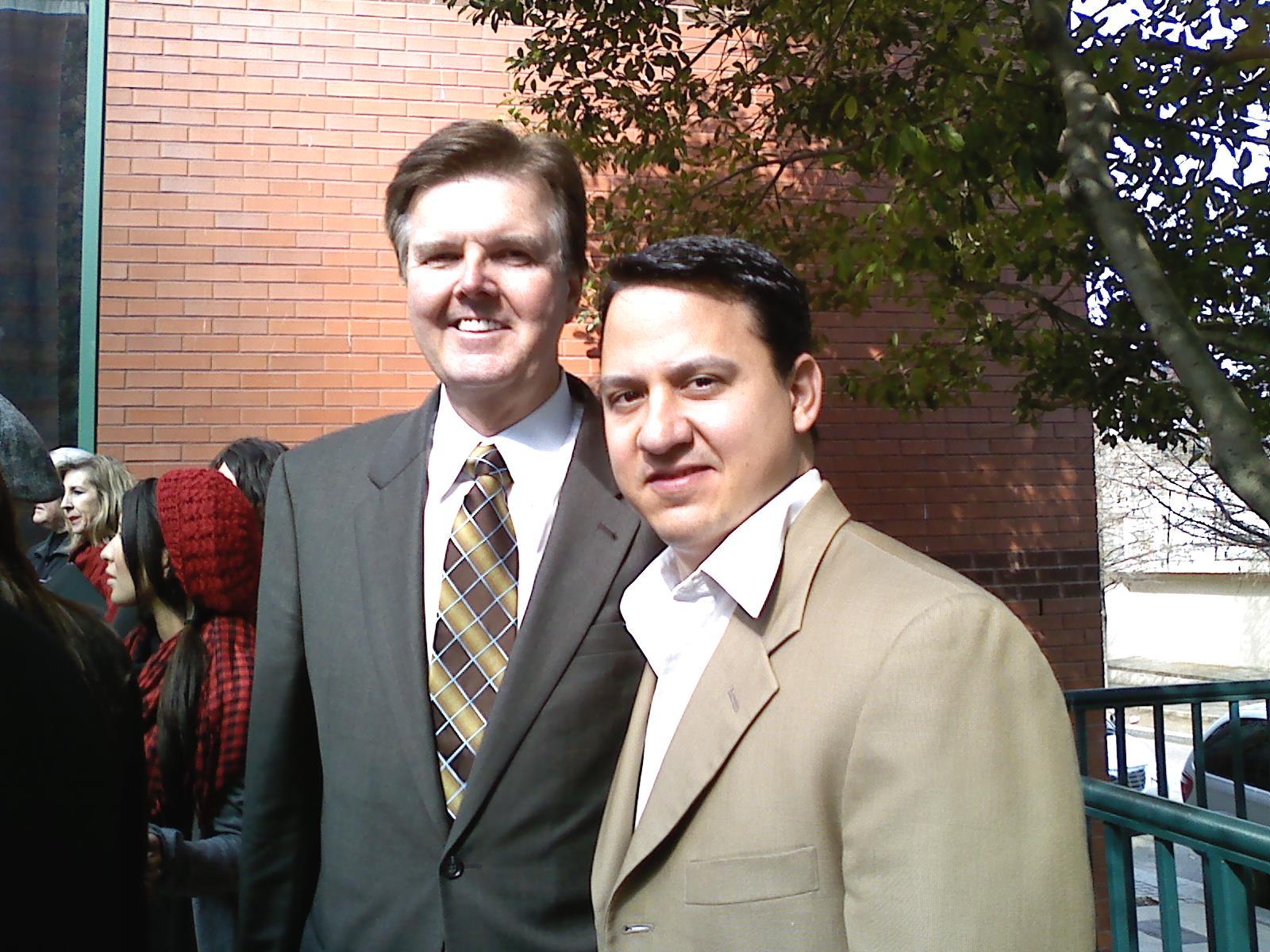 Jonathan with Sen. Dan Patrick of Houston, author of Ultrasound Bill (SB 182)